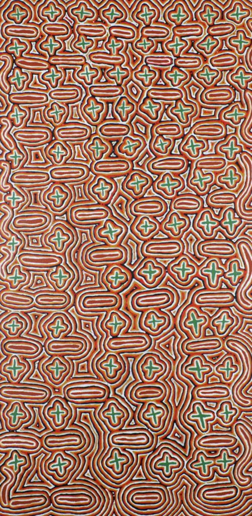 Myra Nungurrayi Herbert (Patrick), ethnie Warlpiri, Budgerigar Dreaming (Rêve de la Perruche), Red Dunes Gallery