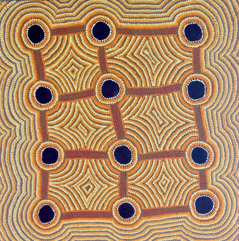 Anmanari Nolan Napanangka, ethnies Arrernte/Luritja/Pintupi, Mulpu – Bush Mushroom, Red Dunes Gallery