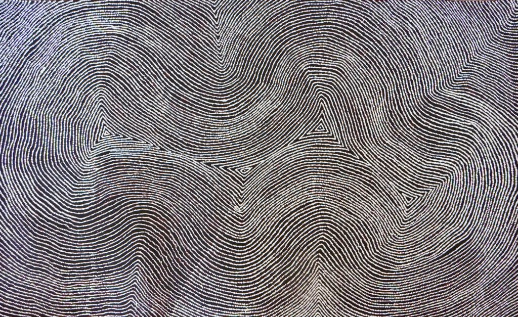 Warlimpirrnga Tjapaltjarri,ethnie Pintupi, Tingari Cycle, Red Dunes Gallery